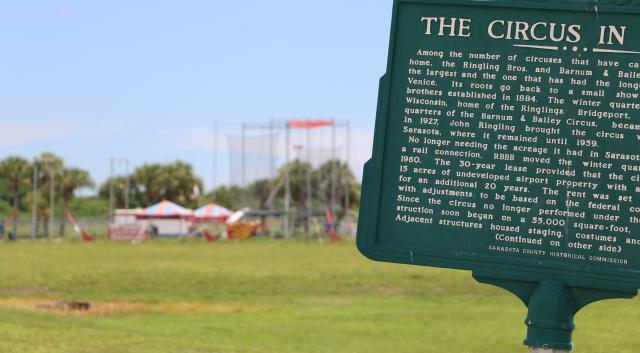 Historical marker showing where the circus used to train in venice florida
