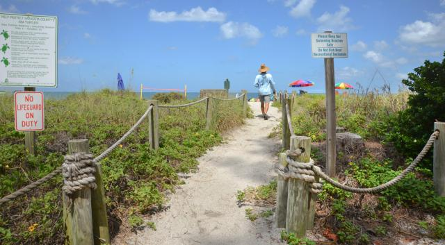 man walking down path to turtle beach on siesta key