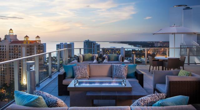 seating on rooftop at a hotel