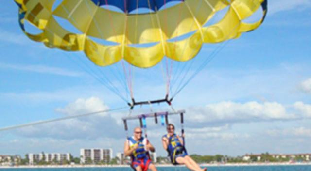 couple parasailing