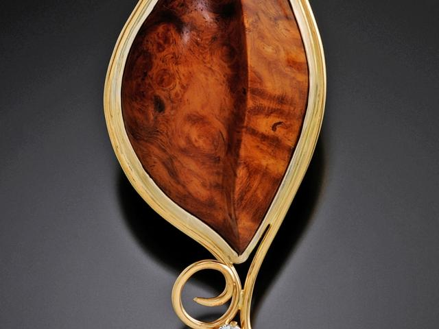 """Amboyna Burl & Diamond Pendant"" by jeweler Harry Mackie"