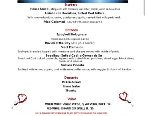 SPECIAL DINNER FOR 2 FOR $75.95 (PLUS TAXES & GRATUITY) - Special Dinner for 2 Includes 1 bottle of selected house red or white wine for $75.95 (plus taxes & gratuity)