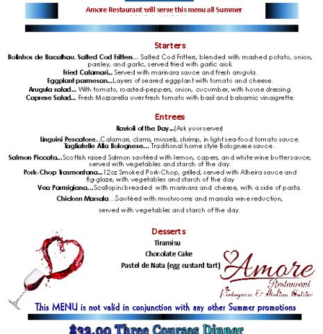 Savor Sarasota Menu 2021 - Amore Restaurant Savor Sarasota Menu 2021