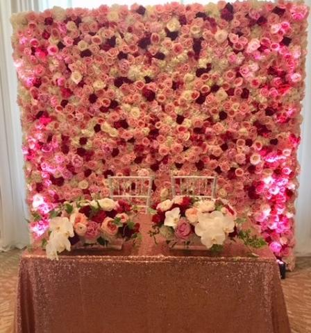Flower Wall - We designed this beautiful flower wall for a wedding with Peonies, Garden Roses, Spray Roses, and Hydrangea