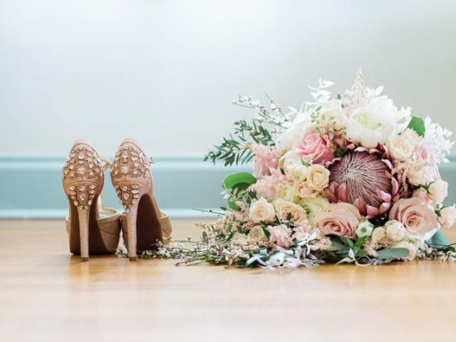 Bridal Bouquet - Rustic Bridal Bouquet with King Protea, Blush Roses, Spray Roses, Parvafolia, Astilbe and Genestra