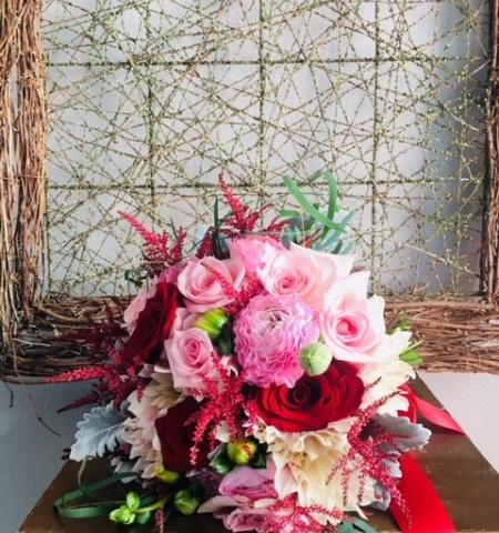 Bridal Bouquet in Pinks and Burgundy - Red Roses, Pink Roses, Pink Dahlias, Dusty Miller, Burgundy Astible and Hellebore