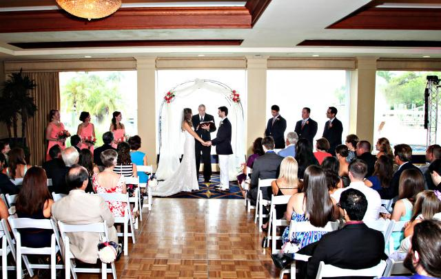 """Wedding Ceremony - With many ceremony locations onsite, Brides may say """"I Do"""" on our new docks, in our Lower Dining Room overlooking the Bay, or outdoors at the Pool Deck."""