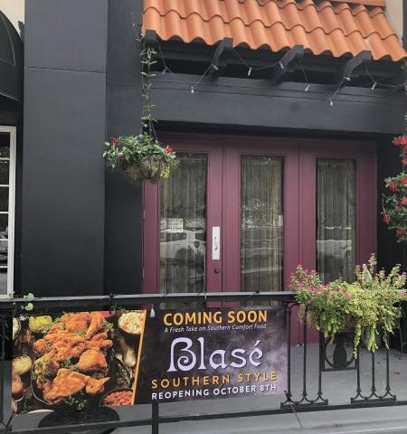 Blasé Southern Style Re-Opens June 4 - Featuring southern comfort food with a twist, the restaurant's eclectic and whimsy interior welcomes diners for inside, takeout and delivery service starting Oct. 8, 2020.