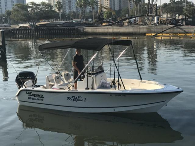 Mako 184 Offshore fishing boat - Our Bluwave I - Mako 184 18' Offshore boat with full bimini, livewell, Chirp54 Garmin GPS/depth/fish finder, Bluetooth Stereo, seating for 5 passengers with 115 hp Mercury!
