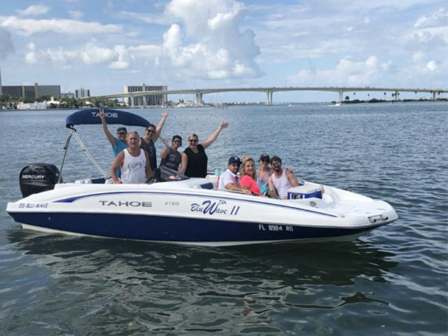 Bluwave Tahoe 2150 Deck Boat - Bluwave II - Our Tahoe 2150 Deck Boat, capacity for 11 passengers, 150 hp Mercury, full bimini, fresh water sink, Garmin 44 GPS, Bluetooth Stereo, dual anchors and swim ladders.