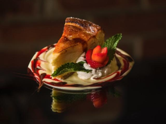 The best dessert you'll try - Chef Rolando's rich, melt-in-your-mouth Crepe Cheesecake is a decadent treat of delicate crepes layered with creamy cheesecake and then bruleed for that delightfully sweet crisp top.
