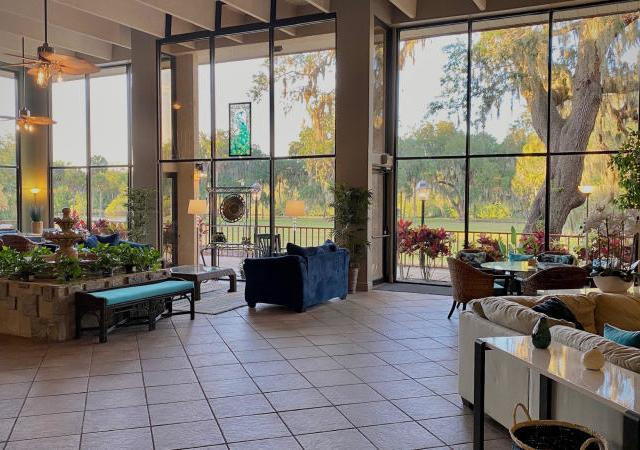 Lobby at Miracle Manor - Enjoy sitting in the Miracle Manor Lobby with breathtaking views of the Manatee River.