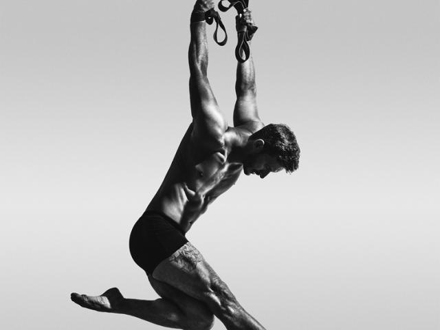 Aerial strap artist Darren Trull