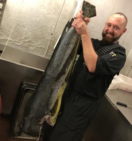 Chef Troy & Gulf Mahi Mahi - Chef Troy holding a Gulf Mahi Mahi