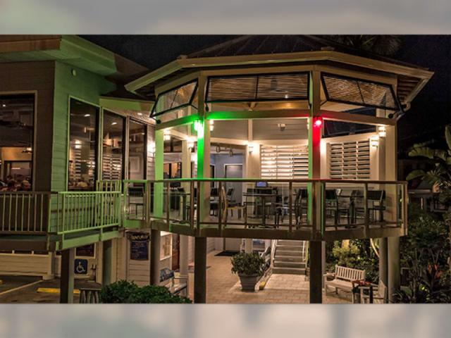 View of Patio at night - Waterfront dining weather permitted