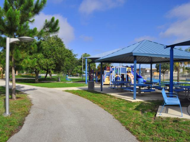 David Cohen Park - A walking trail with work-out stations, two sheltered playgrounds available for party rentals.