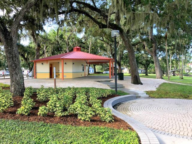 Dr. Martin Luther King Jr. Memorial Park - Public building with a kitchen, electrical outlets, a paved-brick performing circle and restrooms.