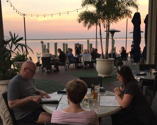 Sunset on the dockside patio
