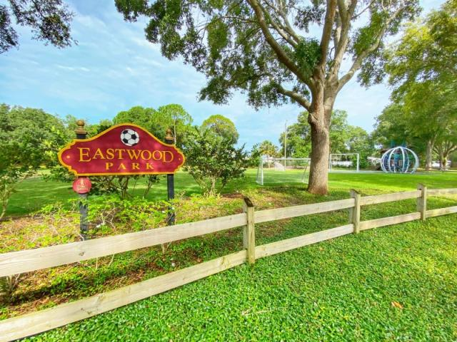 Eastwood Park - Come play at our soccer inspired park, complete with netted goals. Leashed pets allowed, swing set, covered picnic tables and playground.