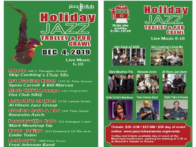 Ride the Holiday Jazz Trolley for Live Jazz Downtown Sarasota
