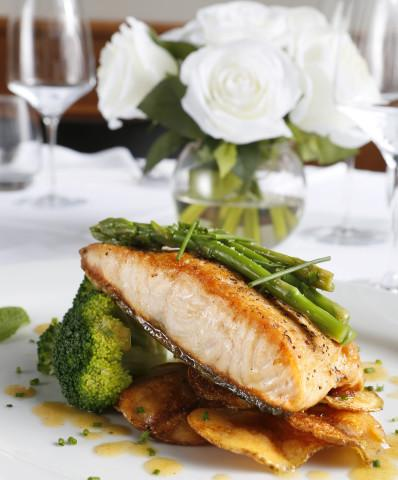TRANCIO DI SALMONE - Grilled Atlantic Salmon topped with Cratin Potatoes & organic Vegetables.