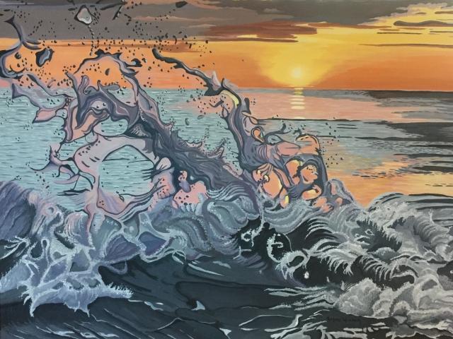 """""""Sunset Surf"""" acrylic by Marlane Wurzbach"""