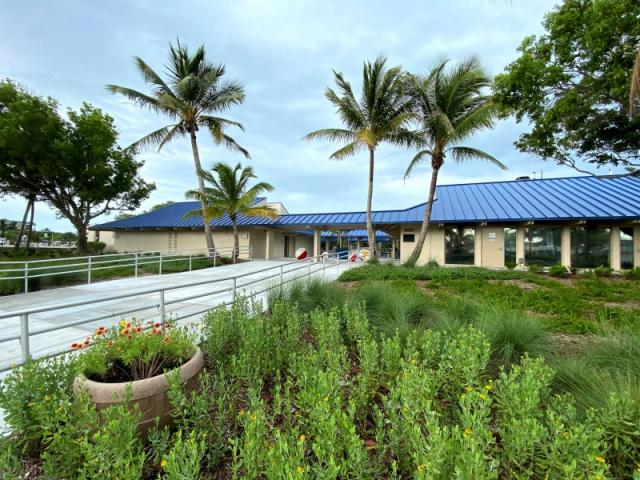 Lido Beach Pavilion - Installation of a long-lasting metal roof that is an attractive blue hue has been completed along with new landscaping.