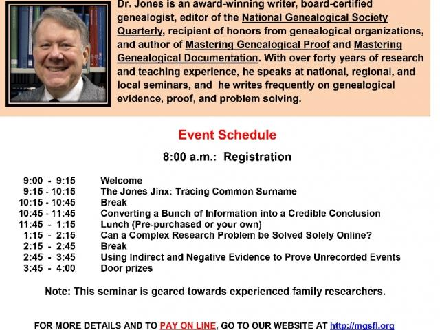 Manatee Genealogical Society Seminar Flyer