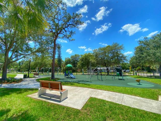 Mary Dean Park Playground - Enjoy brand New Benches, Turf Play Area and Sidewalks.