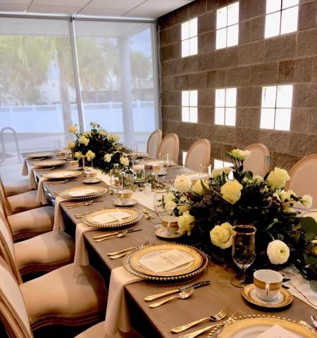 Place setting for a private luncheon at our culinary center