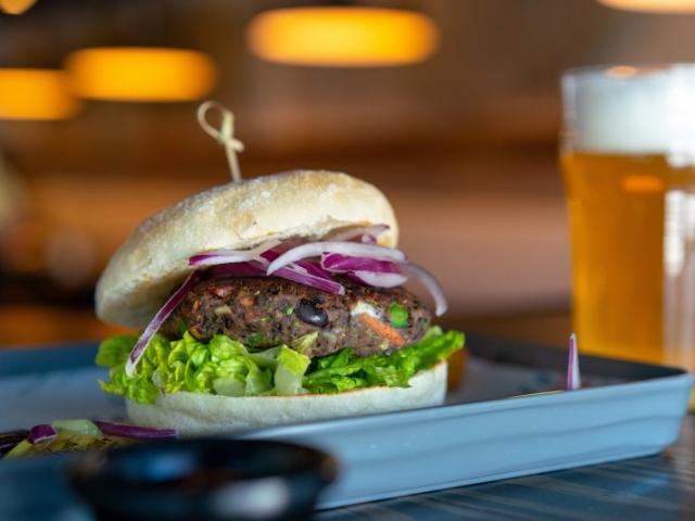 Black Bean Veggie Burger - Third Pound Housemade Black Bean Burger Made with Five Garden Fresh Veggies