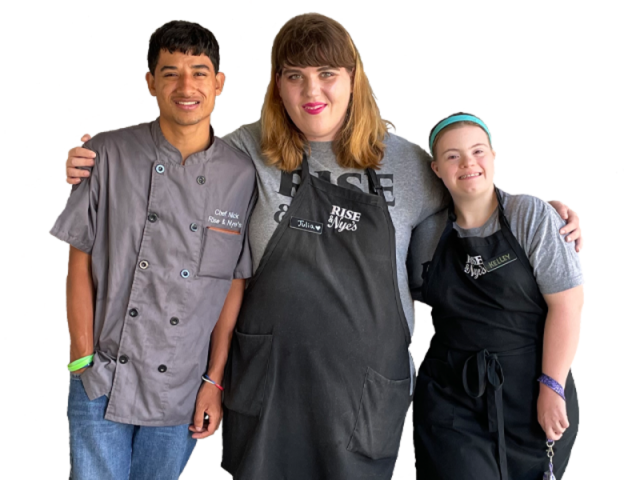 Rise & Nye's morning team members - Rise & Nye's coffee and ice cream shop offers secure employment opportunities for people with intellectual and developmental disabilities.