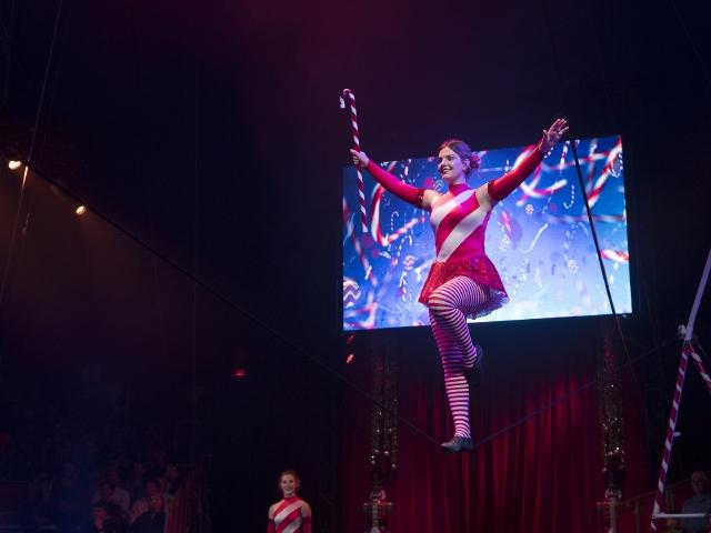 Sailor Circus performer in the 2018 Holiday Show
