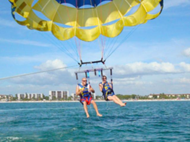 Siesta Key Watersports - Parasail - One, Two or Three can fly together!
