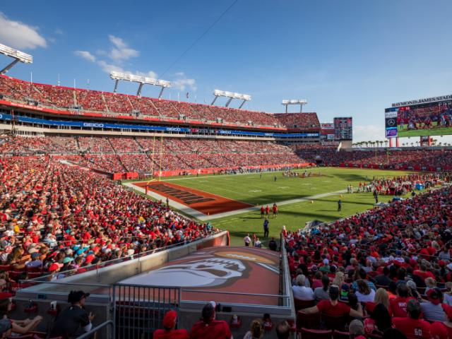 Raymond James Stadium - View of Raymond James Stadium at a Buccaneers Game.