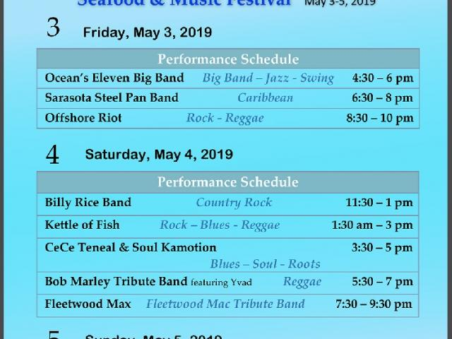 Musical Performance Schedule at Venice Seafood & Music Festival 2019