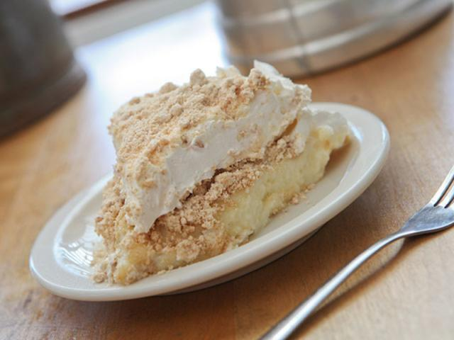 Peanut Butter Cream Pie - A slice of our homemade Peanut Butter Cream Pie