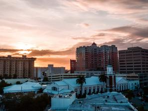 Downtown Sarasota skyline, nearing dusk