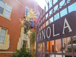 Sign and exterior of hotel ranola in sarasota florida