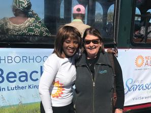 Newtown Alive's Vicki Oldham and Visit Sarasota County's Virginia Haley at the Newtown African American Heritage Trail