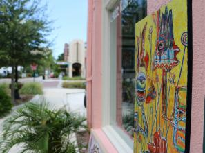 Painting displayed outside of art gallery in sarasota florida