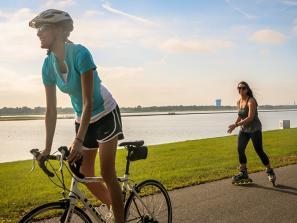 Biking through Nathan Benderson Park