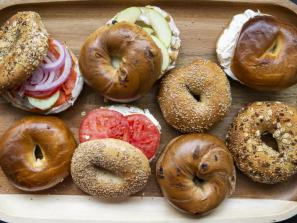 Bagel Brunch - real deal NY bagels -- par baked, flash frozen, shipped from new york and finished that morning in our oven -- and bagel sandwiches, wrapped in white butcher paper, just like you get from the corner bodega....