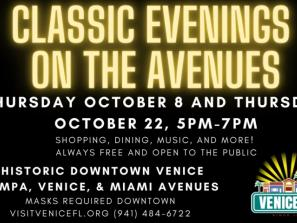 graphic for classic evenings on the avenue event in venice
