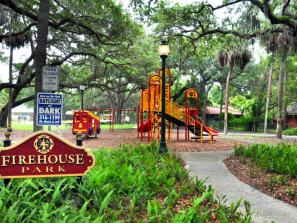 "Firehouse Park - This park has a fun ""Firefighter"" inspired design. Come ""rescue"" the day! Playground, swing-set, picnic tables & grill and allows leashed pets."