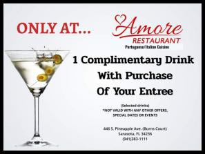 Free drink with entree purchase