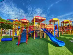 Circus Playground - This playground is circus inspired! Featuring a small splash area, rock climbing, slides, music makers, swings, and so much more. Perfect for picnics and spending the day with your little ones. No pets allowed unless they are service trained.
