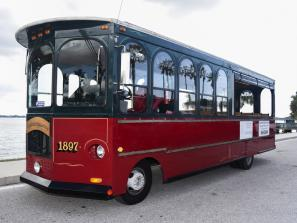 Open-air 34-Passenger Trolley - We have three 34-passenger, non-diesel vintage trolleys that are perfect for weddings, special events and group transportation.