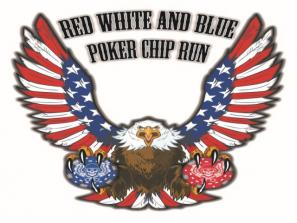 Red, White & Blue Motorcycle Poker Chip Run
