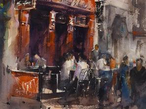 Paris Cafe by Vladislav Yeliseyev. Watercolor Workshop in Sarasota